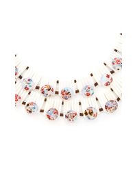 Carole Tanenbaum - Multicolor 1950S White Double Strand Necklace With Speckled Blue Glass Beads - Lyst