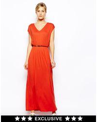 Oasis - Orange V Neck Maxi Dress - Lyst