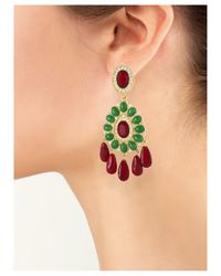 Kenneth Jay Lane | Multicolor Ruby And Emerald Drop Clip Earring | Lyst
