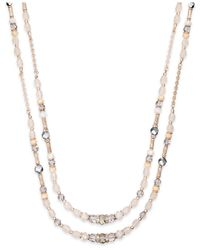 INC International Concepts | Rose Gold-tone Pink Bead Two-row Necklace | Lyst