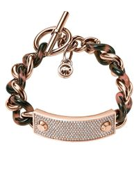 Michael Kors | Pink Twisted Pave Plaque Bracelet | Lyst