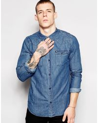 Grain Denim - Blue Mid Wash Shirt for Men - Lyst