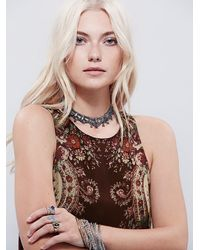 Free People - Brown Printed Flounce Slip - Lyst