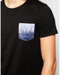 Jack & Jones - Black Longline T-shirt With Contrast Printed Pocket for Men - Lyst