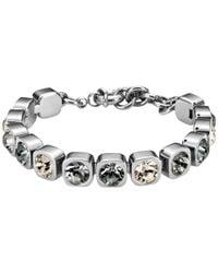 Dyrberg/Kern | Metallic Dyrberg/kern Conian Swarovski Crystal Silver Toned Bracelet | Lyst