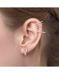 Astrid & Miyu - Metallic Teardrop Ear Jacket In Silver - Lyst
