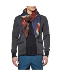 Alexander McQueen - Blue Large Printed Modal Scarf for Men - Lyst