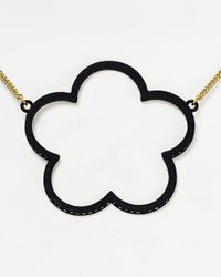 Marc By Marc Jacobs | Black Daisy Window Pendant Necklace, 32"
