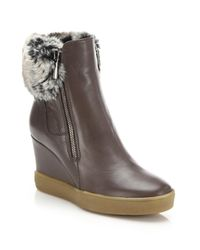 Aquatalia | Brown Caroline Leather & Faux Fur Wedge Booties | Lyst