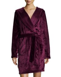 UGG | Purple Hooded Shawl Collar Short Robe | Lyst