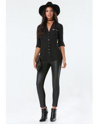 Bebe | Black Zip Pocket Tunic | Lyst