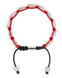 Nialaya | Red Skull-embellished Woven Bracelet for Men | Lyst
