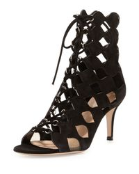 Gianvito Rossi - Black Cut-Out Suede Sandals - Lyst