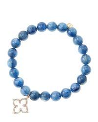 Sydney Evan - Blue 8Mm Kyanite Beaded Bracelet With 14K Rose Gold/Diamond Moroccan Flower Charm (Made To Order) - Lyst