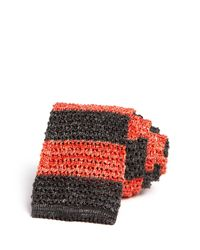 Eidos | Orange Knit Stripe Skinny Tie for Men | Lyst