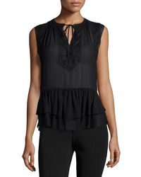 Rebecca Taylor - Black Sleeveless Lace-trim Silk Top - Lyst