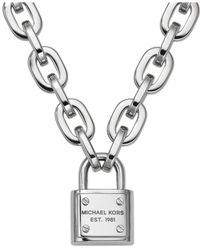 Michael Kors | Metallic Silver-Tone Chain And Padlock Pendant Necklace | Lyst