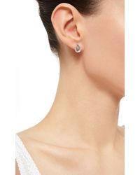 Nina Runsdorf - 18K White Gold Stud Earrings With Slice And Pave Diamonds - Lyst