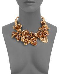 Oscar de la Renta - Metallic Crystaladorned Floral Bib Necklace - Lyst