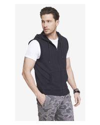 Express - Gray Hooded Sleeveless Fleece Vest for Men - Lyst