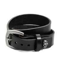 William Rast | Black Leather Skull Wristband for Men | Lyst