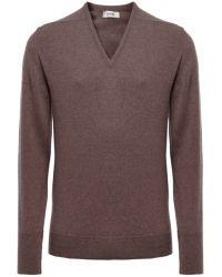 Jules B - Brown Cashmere V-neck Sweater for Men - Lyst