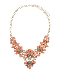 Lipsy | Orange Statement Opaque Flower Collar Necklace | Lyst