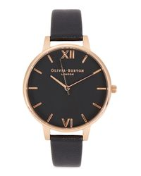 Olivia Burton - Black Big Dial Rose Gold-plated Watch - Lyst