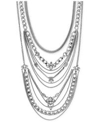 BCBGeneration | Metallic Rhodium-tone Multi Layer Drama Necklace | Lyst