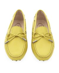 Tod's - Yellow Laced Gommino Textured Leather Driving Shoe - Lyst
