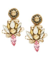 Deepa Gurnani | Metallic Fiesta Bonita Nappa Leather And Crystal Drop Earrings | Lyst