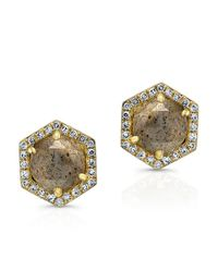 Anne Sisteron | Metallic 14k Yellow Gold Diamond Labradorite Hexagon Shape Stud Earrings | Lyst