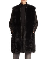 VINCE | Black Long Leather & Fur Coat | Lyst