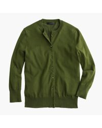 J.Crew | Green Cotton Jackie Cardigan Sweater | Lyst