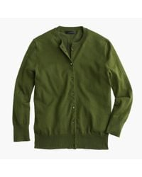 J.Crew - Green Cotton Jackie Cardigan Sweater - Lyst