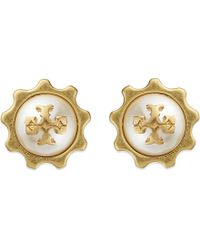 Tory Burch | White Logo Gear Earrings | Lyst