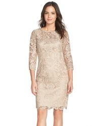Adrianna Papell | Natural Guipure-Lace Sheath Dress | Lyst