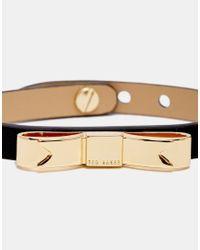 Ted Baker - Black Leather Bow Bracelet - Lyst