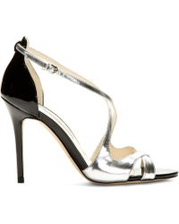 Brian Atwood - Metallic Silver Patent Leather Heeled Sandals - Lyst