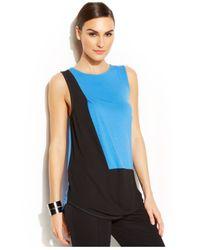 DKNY | Blue Sleeveless Colorblock Top | Lyst
