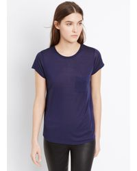 Vince | Blue Pocket Tee With Roll Neck Detail | Lyst
