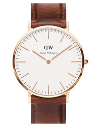 Daniel Wellington | Brown 'classic St. Mawes' Leather Strap Watch | Lyst