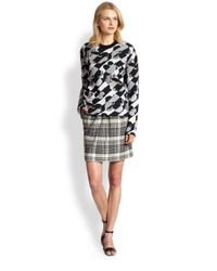 See By Chloé Gray Pleat-Front Plaid Pencil Skirt