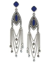 BCBGeneration - Metallic Silver-tone Bead And Stone Chandelier Earrings - Lyst