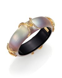 Alexis Bittar | Metallic Imperial Lucite & Pave Crystal X Motif Bangle Bracelet | Lyst