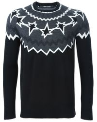 Neil Barrett - Black Pattern Intarsia Sweater for Men - Lyst