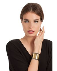 Trina Turk - Black Leather Cuff With Gold Inlay - Lyst