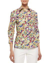 Carolina Herrera - Multicolor Three-quarter-sleeve Parasol-print Button Blouse - Lyst