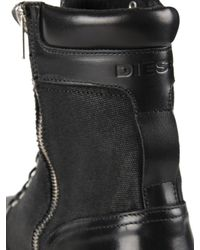 DIESEL - Black Leather Lace_up Yell Boots for Men - Lyst