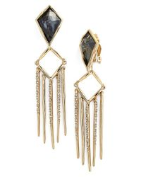 Alexis Bittar | Metallic 'fancy Kite' Encrusted Fringe Clip Earrings | Lyst